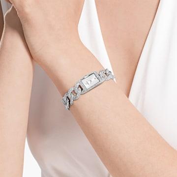 Cocktail 手錶, 全面密鑲, 金屬手鏈, 銀色, 不銹鋼 - Swarovski, 5547617