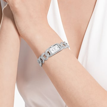 Cocktail Watch, Metal bracelet, Silver tone, Stainless Steel - Swarovski, 5547617