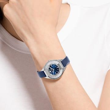 Reloj Crystalline Sporty, correa de piel, azul, acero inoxidable - Swarovski, 5547629
