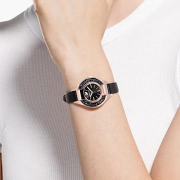 Crystalline Sporty 腕表, 真皮表带, 黑色, 玫瑰金色调 PVD - Swarovski, 5547632