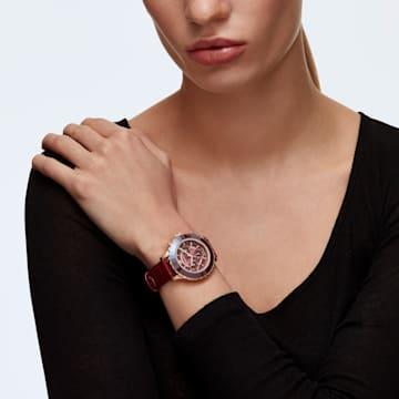 Montre Octea Lux Chrono, bracelet en cuir, rouge, PVD doré rose - Swarovski, 5547642