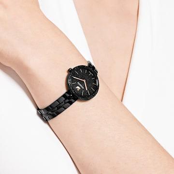 Ceas Cosmopolitan, Brățară de metal, neagră, strat negru aplicat prin depunere fizică de vapori - Swarovski, 5547646