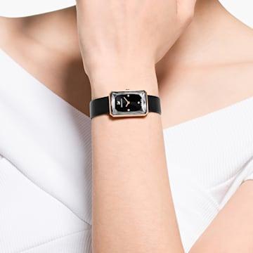 Uptown karóra, bőrszíj, fekete, rozéarany árnyalatú PVD - Swarovski, 5547710