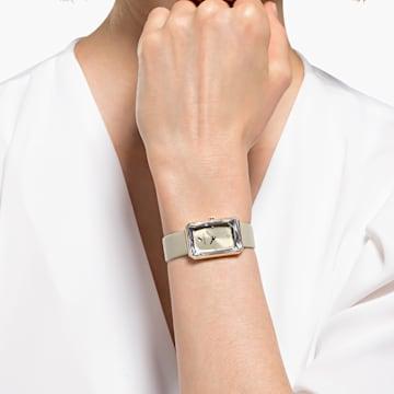 Hodinky Uptown s koženým páskem, šedé, PVD v odstínu růžového zlata - Swarovski, 5547716