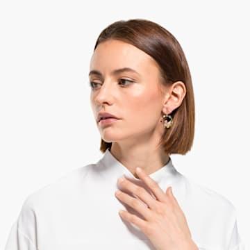 Rainbow Swan Hoop Pierced Earrings, Gold-tone plated - Swarovski, 5549051