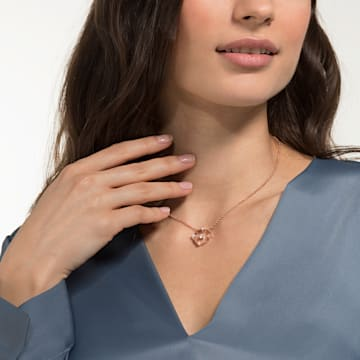 North Necklace, White, Rose-gold tone plated - Swarovski, 5551797
