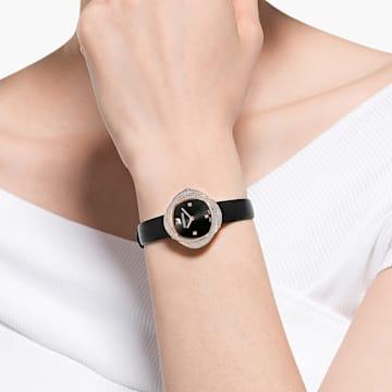 Crystal Flower Часы, Кожаный ремешок, Черный Кристалл, PVD-покрытие оттенка розового золота - Swarovski, 5552421