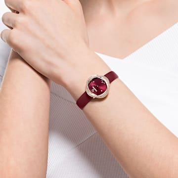 Crystal Flower Uhr, Lederarmband, rot, rosé vergoldetes PVD-Finish - Swarovski, 5552780