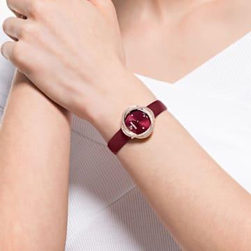 Crystal Flower Uhr, Lederarmband, Rot, Roségold-Legierungsschicht PVD-Finish - Swarovski, 5552780