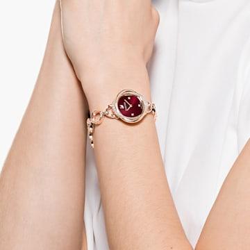 Relógio Crystal Flower, pulseira em metal, vermelho, PVD rosa dourado - Swarovski, 5552783