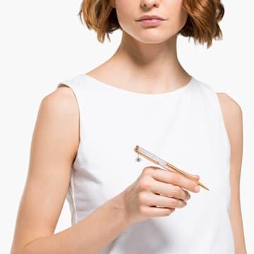 Crystalline Evil Eye 圆珠笔, 白色, 镀玫瑰金色调 - Swarovski, 5553337