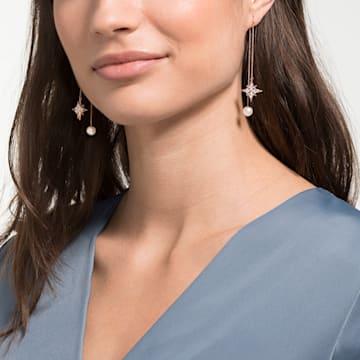 Swarovski Symbolic 链式穿孔耳环, 白色, 镀玫瑰金色调 - Swarovski, 5555432