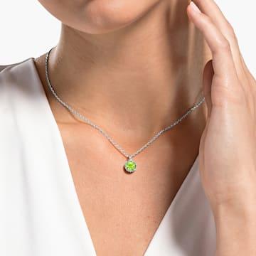 Pandantiv piatră zodiacală, august, verde, placat cu rodiu - Swarovski, 5555790