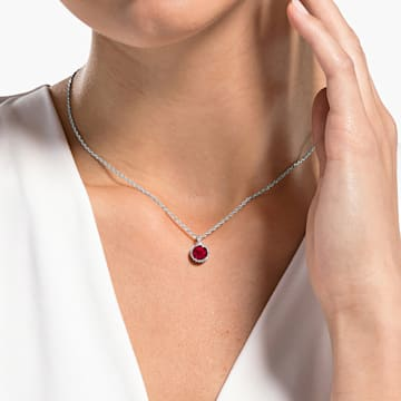 Wisiorek z kamieniem przypisanym do miesiąca urodzin, lipiec, czerwony, powlekany rodem - Swarovski, 5555795