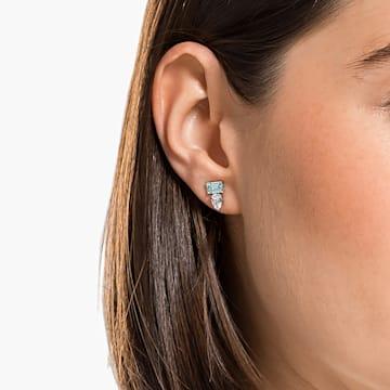 Attract Rectangular Pierced Earrings, Green, Rhodium plated - Swarovski, 5556733