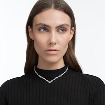 Tennis Deluxe nyaklánc, Különféle metszésű kristályok, Fehér, Ródium bevonattal - Swarovski, 5556917