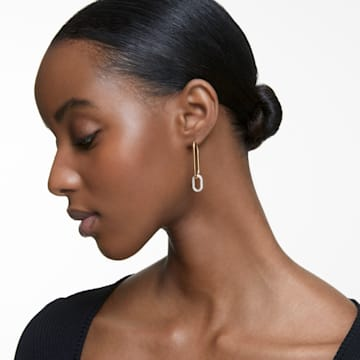 Time 穿孔耳環, 非對稱, 白色, 多種金屬潤飾 - Swarovski, 5558341