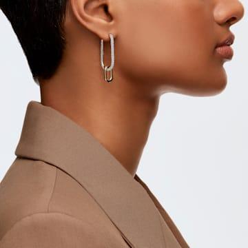 Time Hoop Pierced Earrings, White, Mixed metal finish - Swarovski, 5558341