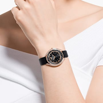 Crystalline Aura karóra, bőrszíj, fekete, rozéarany árnyalatú PVD - Swarovski, 5558634