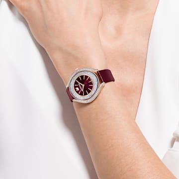 Crystalline Aura-horloge, Leren horlogebandje, Rood, Roségoudkleurig PVD - Swarovski, 5558637
