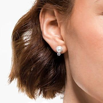 Treasure Pearl 穿孔耳环, 白色, 镀铑 - Swarovski, 5559420
