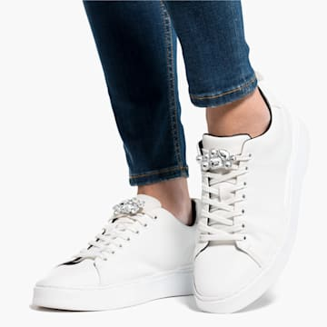 Clips para zapatos Swarovski, blanco, baño de rodio - Swarovski, 5559823