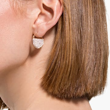 Ginger 穿孔耳环, 白色, 镀金色调 - Swarovski, 5560492