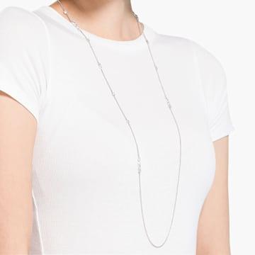 Tennis Deluxe fűzött nyaklánc, Különféle metszésű kristályok, Fehér, Ródium bevonattal - Swarovski, 5562083