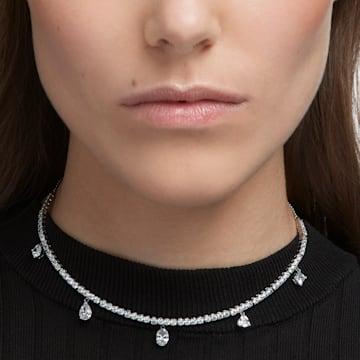 Tennis Deluxe choker, Mixed crystals cut, White, Rhodium plated - Swarovski, 5562084