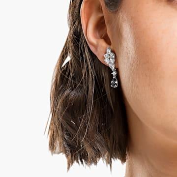 Tennis Deluxe 穿孔耳环, 混合切割仿水晶, 灰色, 镀铑 - Swarovski, 5562086