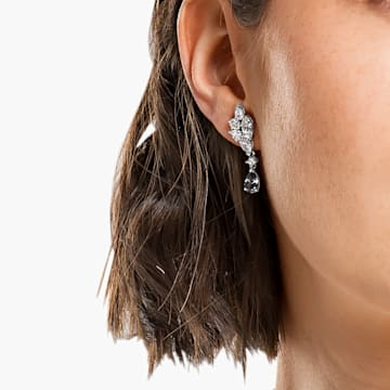 Tennis Deluxe earrings, Mixed crystals cut, Gray, Rhodium plated - Swarovski, 5562086