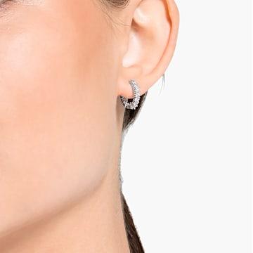 Vittore 大圈耳環, 白色, 鍍白金色 - Swarovski, 5562126