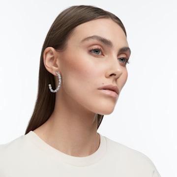 Tennis Deluxe hoop earrings, Precision cut crystals, White, Rhodium plated - Swarovski, 5562128