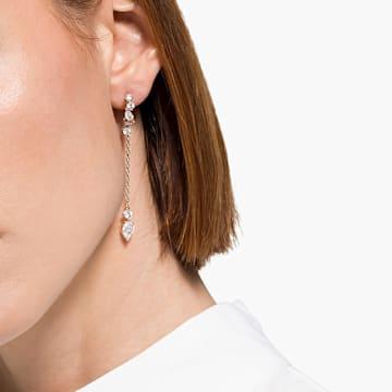 Attract 穿孔耳環, 白色, 鍍玫瑰金色調 - Swarovski, 5563118