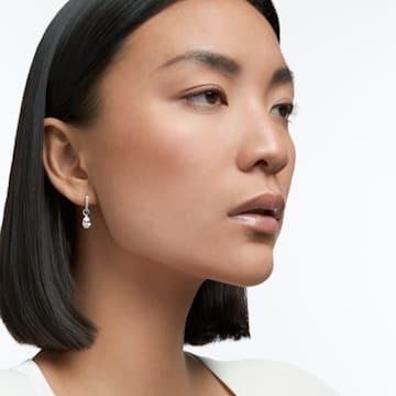 Mini argolas para orelhas furadas Attract Pear, brancas, banhadas a ródio - Swarovski, 5563119