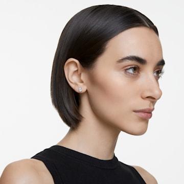 Boucles d'oreilles clous Attract Pear, blanc, métal rhodié - Swarovski, 5563121