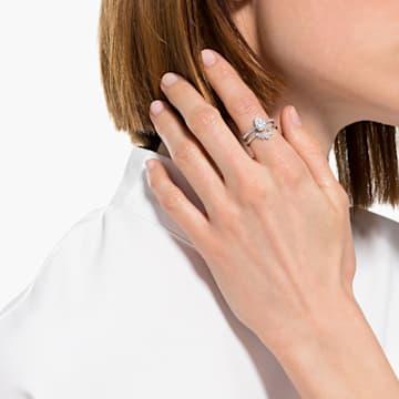 Attract csepp alakú gyűrű szett, fehér, ródium bevonattal - Swarovski, 5563122
