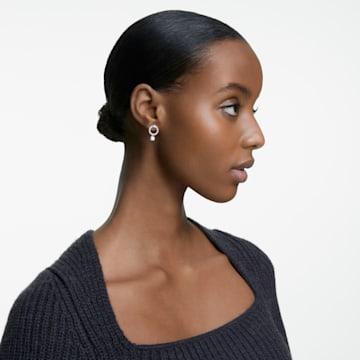 Attract 穿孔耳環, 圓形, 白色, 鍍白金色 - Swarovski, 5563278