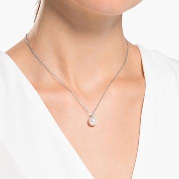 Colier Treasure Pearl, alb, placat cu rodiu - Swarovski, 5563288