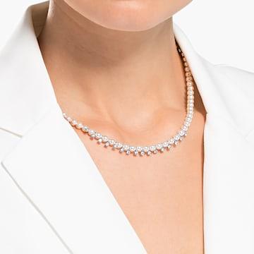 Collar Treasure, Blanco, Baño de rodio - Swarovski, 5563289