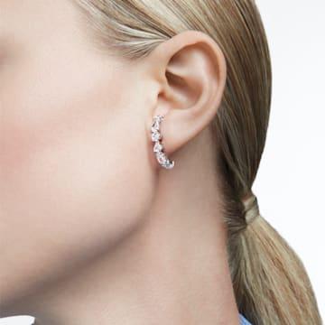 Tennis Deluxe 穿孔耳環, 混合切割水晶, 白色, 鍍白金色 - Swarovski, 5563322