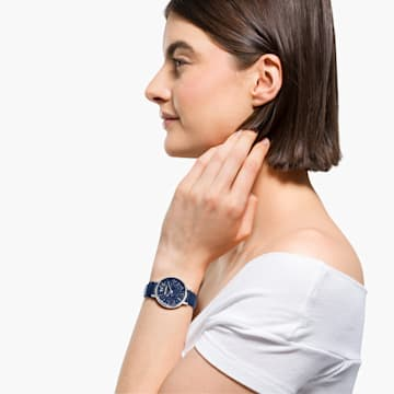 Crystalline Joy Uhr, Lederarmband, Blau, Edelstahl - Swarovski, 5563699