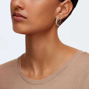 Twist 大圈耳环, 白色, 镀铑 - Swarovski, 5563908