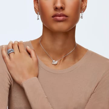 Twist 穿孔耳環, 白色, 鍍白金色 - Swarovski, 5563908