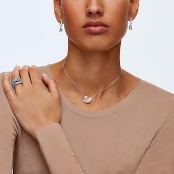 Twist hoop earrings, White, Rhodium plated - Swarovski, 5563908