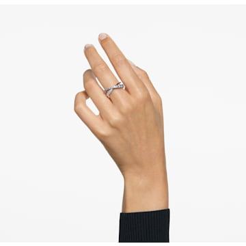 Δαχτυλίδι Twist Rows, Λευκό, Επιμετάλλωση ροδίου - Swarovski, 5563911