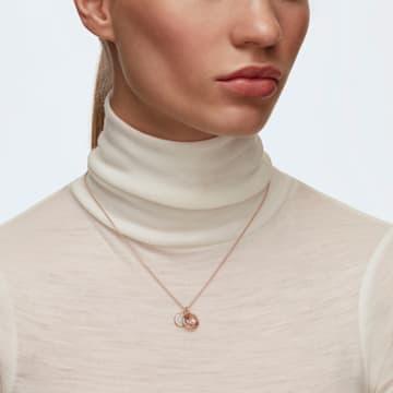 Dvojitý přívěsek Tahlia, růžový, pozlacený růžovým zlatem - Swarovski, 5564908