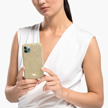 High 스마트폰 케이스, iPhone® 12 Pro Max, 골드 톤 - Swarovski, 5565179