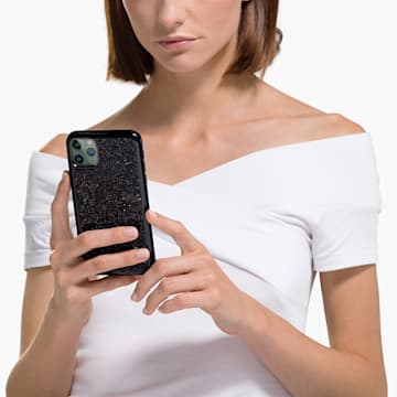 Glam Rock smartphone hoesje, iPhone® 12/12 Pro, zwart - Swarovski, 5565188