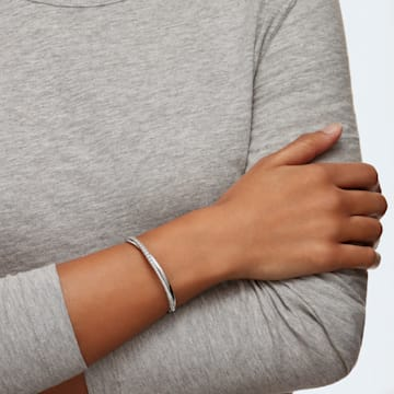 Twist Rows Bracelet, White, Rhodium plated - Swarovski, 5565210